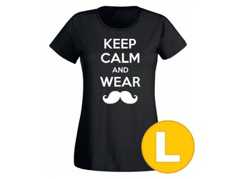 T-shirt Keep Calm Wear Mustache Svart Dam tshirt L