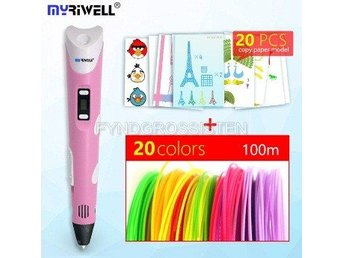 "Myriwell 2nd Generation LED DIY 3D Pen ""pink A100m 20mode"" Fri Frakt Helt Ny"