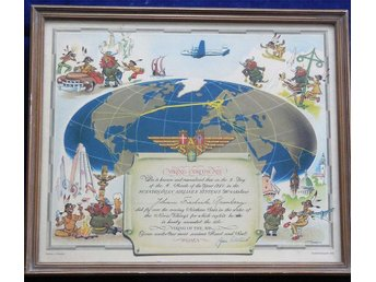 Flyghistoria: SAS Viking Certificate ,1950,  Airline Collectible