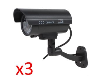 3 x Dummy Fake Home Work Outdoor Surveillance Security Camera CCTV Flashing LED