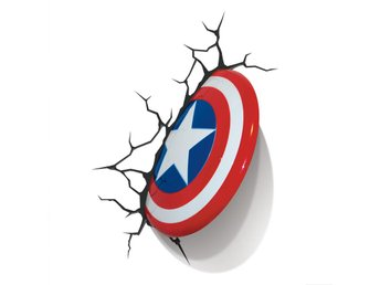 Marvel Comics 3D LED Light Captain America Shield Damage BOX