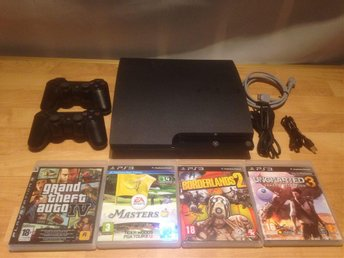 Playstation 3 Slim 120gb, 2 handkontroller & 4 spel