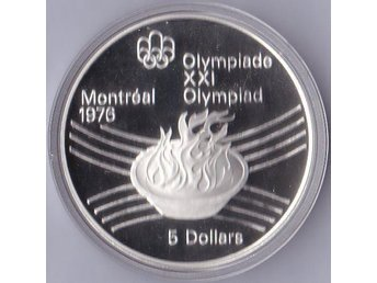 5dollars Olympic Flame OS Montreal 1976 Kanada 1976 Ag 24,3g Proof 79 102ex.