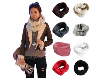 Vit / Stickad Neck Warmer Scarf
