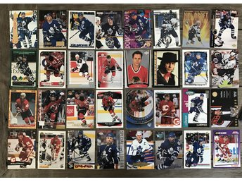 LOT! 32st Doug Gilmour Hockeykort + pärm Hockeybilder Toronto Maple Leafs