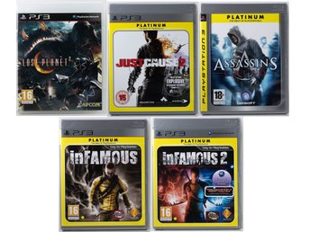 Playstation 3 (PS3) 5 st spel – Infamous, Assassins Creed. PAL mycket fint skick