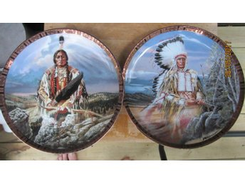 Tallrikar PORSLIN indian Red Cloud & Sitting Bull Limited edition