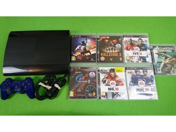 Playstation 3 Konsol 465gb Med 7 Spel Basenhet