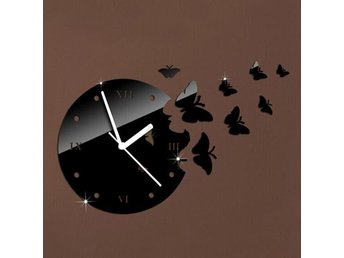 Väggklocka 3D DIY Butterfly Wall Clock Art Home Room Decoration