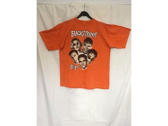 Orange T-shirt med Backstreet Boys-tryck strl M