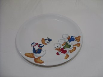 Disney Pizza Porslins Tallrik Kalle Anka med Knattarna Donald Duck with nephews