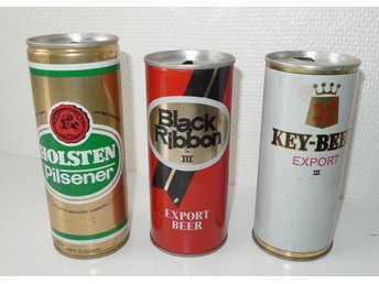Tre äldre ölburkar i plåt Holsten Black Ribbon Key-Beer