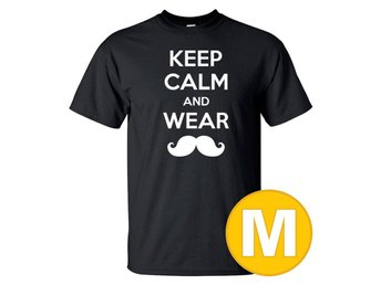 T-shirt Keep Calm Wear Mustache Svart herr tshirt M