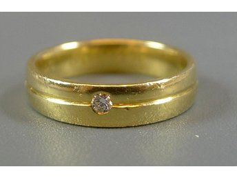 Ring, briljant ca 0,03ct, 18k guld, 5,53g, stl: 17,25mm.
