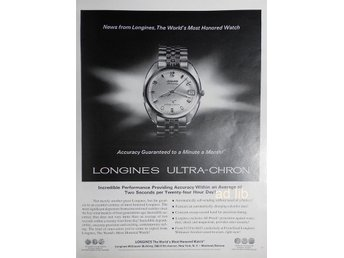 LONGINES - ULTRA-CHRON WATCH TIDNINGSANNONS Retro 1968
