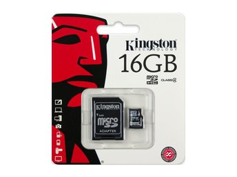 16GB Kingston microSDHC/SD Minneskort, Class 4, med Adapter