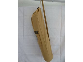 Hand Made Beige Cotton Yoga Mat Cover with Pocket