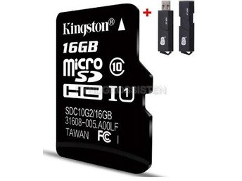 "Kingston TF Micro SD-kortminneskort ""P4TFC10 16G + 2in1 Read"" Fri Frakt Helt Ny"