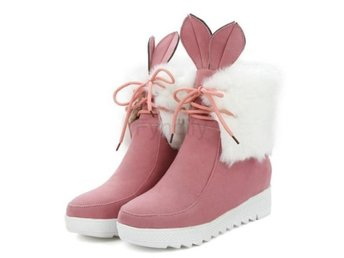 Dam Boots Winter Warm Thicked Fur Ankle Boots Pink 37