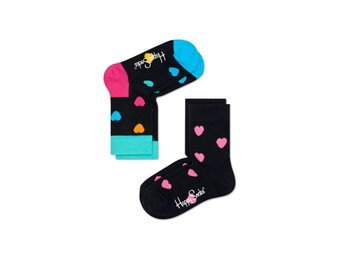 Happy Socks 2-Pack barnstrumpor Hearts, Black (4-6 år)