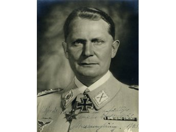 Tredje Riket WW2 Hermann Göring German Military Leader Pre-Printed Autograf Foto