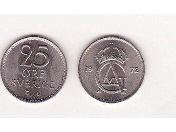 25 öre 1972 Ocirkulerad 0 (10) Riksbanksrörsmynt. - Göteborg - 25 öre 1972 Ocirkulerad 0 (10) Riksbanksrörsmynt. - Göteborg