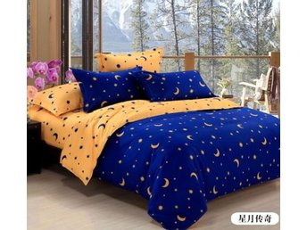 Duvet Cover Pillow Case Quilt Cover Bed Set Queen King Size Blue Star Moon Home