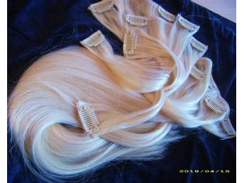 CLIP ON SET 7 DELAR ÄKTA REMY 50/52 CM #613 BLOND //