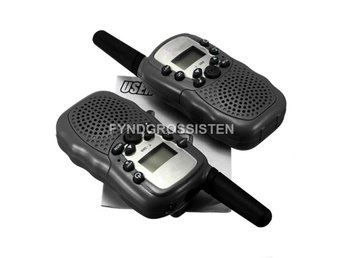 2 st Walkie Talkie Radio 0,5W UHF-band AAA-batterier - Svart Fri Frakt Helt Ny