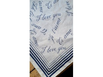 Scarf (I love you) isblå B 58 cm Retro