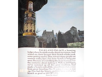 100 PIPERS SCOTCH WHISKY TIDNINGSANNONS Retro 1968