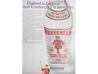 BEEFEATER LONDON DRY GIN TIDNINGSANNONS Retro 1968