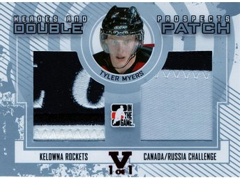 2009-10 ITG Heroes and Prospects Double Patch #DP17 Tyler Myers /9 - Kalmar / Sweden - 2009-10 ITG Heroes and Prospects Double Patch #DP17 Tyler Myers /9 - Kalmar / Sweden