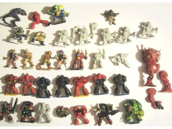 stor lot trasiga Warhammer 40k figurer orcs, imperial guards, space marines m.m.