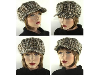 Dam Vinter HATT Keps NEWSBOY Fleece Foder TWEED LOOK