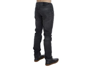 ACHT - Gray Cotton Regular Low Fit Jeans