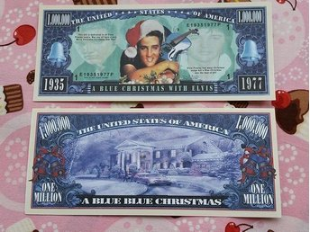 Elvis Presley Dollar sedel Rockabilly/50´s/jänke/dollarsedel/Blue Christmas/jul