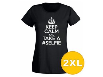 T-shirt Keep Calm And Take A Selfie Svart Dam tshirt XXL