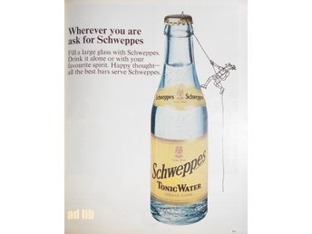SCHWEPPES TONIC WATER TIDNINGSANNONS Retro 1968