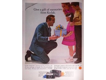 KODAK GIVE A GIFT OF MEMORIES TIDNINGSANNONS Retro 1968