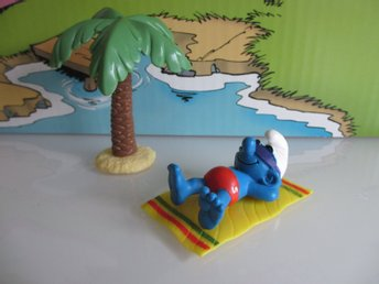Supersmurf som solar under palm (USA VERSION PEYO ) - 40261 - BRA SAMLARSKICK!