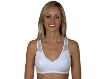 Ladies Girls Illusions Cotton Sports Gym Running Bra Racer Back White