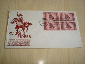 Rough Riders 1898-1948 50th Anniversary USA förstadagsbrev 4 frimärken