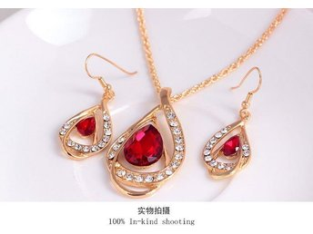 Fashion Big Red And White Rhinestone Pendant Necklace KC Gold plated High Qualit