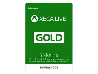 3 månader Xbox live gold / guld xbox one / xbox 360