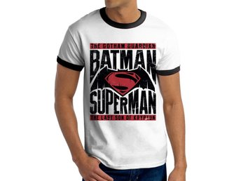 BATMAN VS SUPERMAN - TEXT & LOGO T-Shirt (UNISEX RINGER) - S