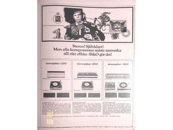 B & O BANG & OLUFSEN - BEOMASTER STEREOPAKET TIDNINGSANNONS Retro 1970 - öckerö - B & O BANG & OLUFSEN - BEOMASTER STEREOPAKET TIDNINGSANNONS Retro 1970 - öckerö
