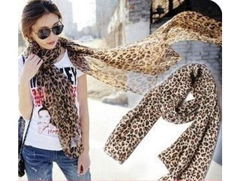 Sjal Scarf Leopard i chiffong