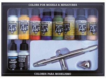 Vallejo Model Air HS Ultra Airbrush + 10 Basic Colors