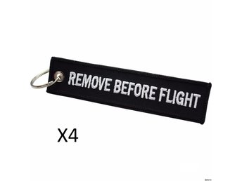 4st Nyckelring Remove before flight (SVART)